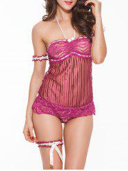 Sheer Halter Bandeau Babydoll With Lace Bracelet - PURPLISH RED XL