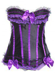 Zipper Lace Up Bandeau Corset - BLACK AND PURPLE