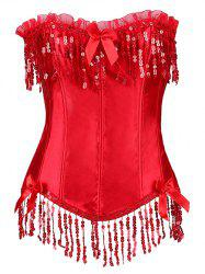 Sequined Fringe Steal Boned Corset - RED