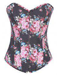 Retro Floral Steal Boned Denim Corset