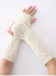 Diamant Winter Christmas évider Crochet Knit Manchettes - Blanc