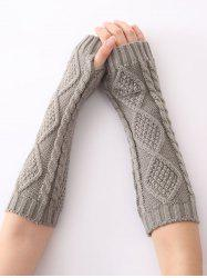 Christmas Winter Diamond Hollow Out Crochet Knit Arm Warmers - LIGHT GRAY
