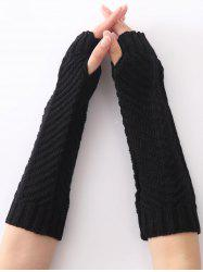 Christmas Winter Fishbone Crochet Knit Arm Warmers - BLACK