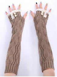 Christmas Winter Lace Buttons Hollow Out Crochet Knit Arm Warmers - KHAKI