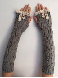 Christmas Winter Lace Buttons Hollow Out Crochet Knit Arm Warmers