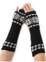 Winter Warm Christmas Snow Floral Crochet Knit Arm Warmers - BLACK