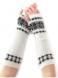 Winter Warm Christmas Snow Floral Crochet Knit Arm Warmers - WHITE
