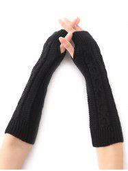 Hemp Decorative Pattern Christmas Crochet Knit Arm Warmers - BLACK