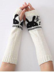 Christmas Winter Rabbit Head Hollow Out Crochet Knit Arm Warmers - WHITE