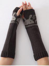 Christmas Winter Rabbit Head Hollow Out Crochet Knit Arm Warmers - DEEP GRAY