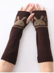 Christmas Winter Rabbit Head Hollow Out Crochet Knit Arm Warmers - COFFEE