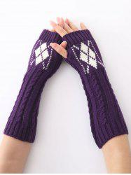 Hemp Decorative Pattern Diamond Christmas Crochet Knit Arm Warmers