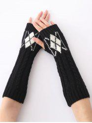 Hemp Decorative Pattern Diamond Christmas Crochet Knit Arm Warmers - BLACK