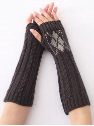Hemp Decorative Pattern Diamond Christmas Crochet Knit Arm Warmers - DEEP GRAY