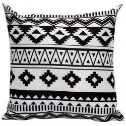 Soft Decorative Geometrics Pattern Sofa Bed Pillow Case - WHITE AND BLACK