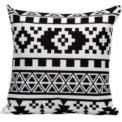 Soft Decorative Household Geometrics Pillow Case - WHITE AND BLACK