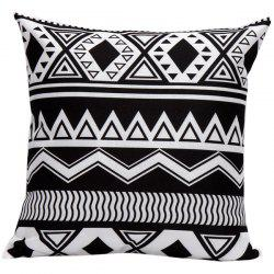 Soft Decorative Household Geometrics Corrugateds Pillow Case - WHITE AND BLACK