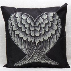 Soft Decorative Household Red and Black Heart Wings Pillow Case - BLACK