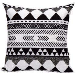 Soft Decorative Geometrics Lines Sofa Bed Pillow Case - WHITE AND BLACK