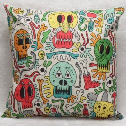 Colorful Skulls Decorative Household Pillow Case -