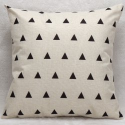 Decorative Household Little Triangles Pillow Case - WHITE AND BLACK