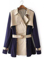 Manteau Couleur Patchwork Double-breasted Trench -