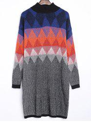 Argyle Jacquard Loose-Fitting Sweater Dress