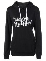 Funny Graphic Print Plus Size Hoodie - BLACK