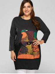 Cartoon Animal Print Plus Size Long Sleeve Dress