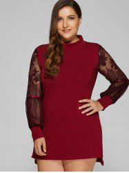 Lace Splicing Mini Plus Size Dress