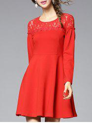 Lace-Insert Slimming A-Line Dress -