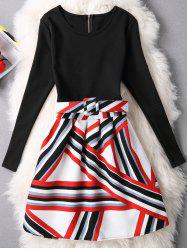 Striped Zipper Design Patchwork Dress