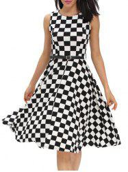 Retro High Waist Plaid Belted Dress - BLACK