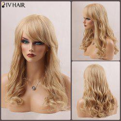 Long Fluffy Oblique Bang Wavy Human Hair Wig -