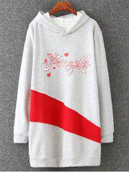 Plus Size Long Sleeve Letter Print Hoodie Dress