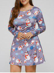 Long Sleeve Snowman Print Plus Size Christmas Skater Dress