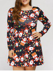 Long Sleeve Santa Plus Size Christmas Swing Dress