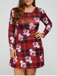 Elk Print Plus Size Long Sleeve Christmas Swing Dress