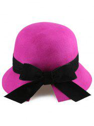 Outdoor Velvet Bowknot Mesh Cloche Hat