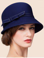 Winter Wool Bow Charm Cloche Hat - BLUE