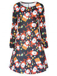Long Sleeve Santa Print Christmas Mini Swing Dress