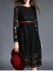 Cut Out Belted Lace A-Line Dress -