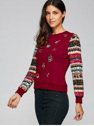 Festival Sequins Embroidery Christmas Graphic Sweatshirt - WINE RED