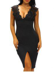 Plunging Neck Lace-Insert Furcal Dress -