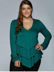Plus Size Layered Blouse - DEEP GREEN