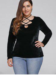 Plus Size Lace-Up Velvet Blouse