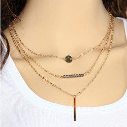 Alloy Geometric Shape Multilayered Pendant Necklace - AS THE PICTURE