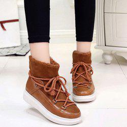 Splicing Lace-Up Platform Ankle Boots -