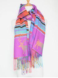 Outdoor Christmas Deer Pattern Colorful Tassel Scarf
