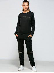 Zippered Sweatshirt and Pants with Pocket -